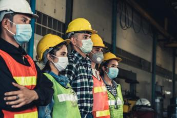 Workers in masks